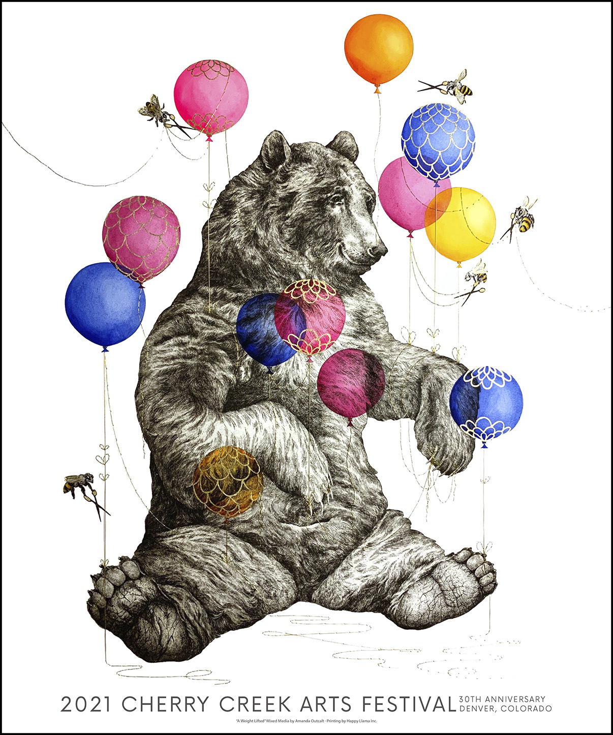 2021 Cherry Creek Arts Festival Poster - Image of bear with balloons and bees cutting string